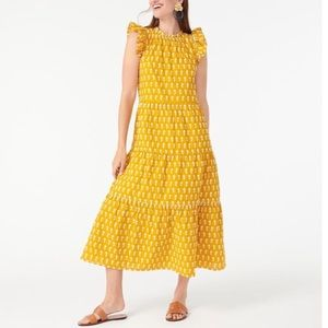 J.Crew Tiered Cotton Voile Dress Sunflowers